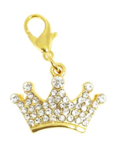 Royal Crown Swarovski Dog Collar Charm - A unique piece that is sure to turn heads. Fun and stylish, a wonderful way of showing off your own individual flair. This crown shaped pendant features 45 Swarovski Crystals set in gold-plated alloy. Attaches to any collar's D-ring with a lobster clip. Measures approx. 1'' - 2.5cm wide.