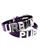 Purple Leather Personalised Dog Collar (Chrome Letters) - Purple Leather Personalised Dog Collar (Chrome Letters)