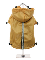 Gold Fleece-Lined Raincoat - Protect your pup from the rain with this waterproof raincoat in a rich gold colour with three hi-visibility stripes. The adjustable draw string hood will keep the raincoat snug to your dog's face and a soft fleece lining will keep your dog comfortable. The Velcro fastenings make it easy to put on an...
