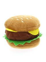 Hamburger Plush & Squeaky Dog Toy - This is one burger that is completely calorie free but still looks delicious, with its juicy burger, lettuce and slice of cheese it is just impossible to resist. The harder your pup bites the more it squeaks and the more fun is had by all. These soft, cute and cuddly toys are designed for your dog t...