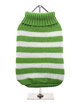 Green & White Candy Stripe Sweater - Nothing spells out fun more than a candy stripe sweater, on these cold days and nights it brings a ray of sunshine into dull days. But it has to be practical and keep the wearer snug and warm which it does with style and panache.