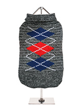 Charcoal Grey / Red Argyle Sweater - Knitted Charcoal Grey / Red Argyle sweater with a red and blue diamond pattern. The Argyle pattern has seen a resurgence in popularity in the last few years due to its adoption by Stuart Stockdale in collections produced by luxury clothing manufacturer, Pringle of Scotland. The rich Scottish heritag...