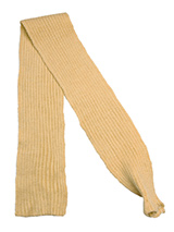 Tan Knitted Scarf - Our knitted scarves  can be worn in a number of ways. One end of the scarf has an opening so that it can be worn like a tie. Or it can be simply tied around the neck. But whatever way it is worn it is guaranteed to create that casual look while keeping the neck and chest warm.
