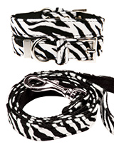 Zebra Print Fabric Collar & Lead Set - Our Faux Zebra collar & lead set is a contemporary animal print style and is right on trend. It is lightweight and incredibly strong. The collar has been finished with chrome detailing including the eyelets and tip of the collar. A matching harness and bandana are available to purchase separately. Y...
