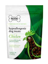 80% Freshly Prepared Chicken Hypoallergenic Dog Treats (200g) - B.one hypoallergenic bites are no ordinary dog treats. We avoid ingredients that are known to cause allergies and itching such as grains, cereals, artificial flavourings and colourings to produce a tasty hypoallergenic treat. Our recipe has been formulated with Europe's leading nutritionists to ensu...