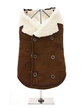 Brown & Cream Faux Shearling Aviator Jacket - You will find it hard to resist our shearling aviator jacket. It is so soft, light and smooth to the touch but still incredibly warm. Fleece lined with a faux suede outer it really is a great coat for keeping you dog warm and snug. It's has a traditional double breasted finish with six buttons three...