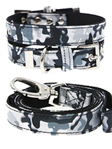 Urban Camouflage Collar & Lead Set - If you have an action boy or girl this Urban Grey Camouflage Collar and Lead Set will be right up their street. It is lightweight and incredibly strong. The collar has been finished with chrome detailing including the eyelets and tip of the collar. A matching lead, harness and bandana are available...