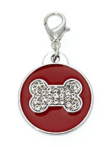 Red Enamel / Diamante Bone Dog Collar Charm - If you are looking for bling then look no further. Our Red Enamel / Diamante Bone Dog Collar Charm is encrusted with diamantes set against a beautiful red enamel background. It attaches to any collar's D-ring with a lobster clip. The perfect accessory to add bling to your dog's collar.