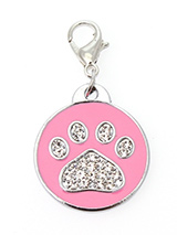 Pink Enamel / Diamante Paw Dog Collar Charm - If you are looking for bling then look no further. Our Pink Enamel / Diamante Paw Dog Collar Charm is encrusted with diamantes set against a beautiful pink enamel background. It attaches to any collar's D-ring with a lobster clip. The perfect accessory to add bling to your dog's collar.