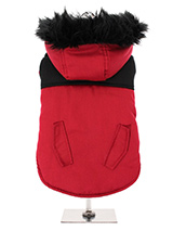 Red on Black Two Tone Parka - This two toned Parka coat is cosy and stylish and bang on trend. It has a faux fur trimmed hood and is fleece lined to keep your dog snug and warm. Not only is it perfect for the dog that likes a bit of rough and tumble but it is also a quality piece of clothing that is multi layered and will keep t...