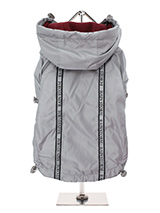 Grey Rainstorm Rain Coat - Our new Grey Rainstorm Rain coat will protect your dog from the rain and with it's hi-visibility stripe will help them be seen. The adjustable draw string hood will keep the raincoat snug to your dogs face and a drawstring on the hem will allow you to get a nice tight fit to keep the body warm and d...