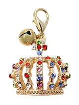 Crown Jewels Dog Collar Charm in Gold - Designed in the style of the crowns of the Imperial Russian Court this beautiful charm features green, blue, red and pink  diamanté crystals set in gold alloy. This is an accessory fit for royalty. It also has a little silver bell that lets you know when you dog is the move. You can't much more blin...