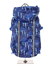 Storm Print Rainstorm Rain Coat - Our new Storm Clouds Rainstorm Rain coat will protect your dog from the rain and with it's hi-visibility stripe will help them be seen. The adjustable draw string hood will keep the raincoat snug to your dogs face and a drawstring on the hem will allow you to get a nice tight fit to keep the body wa...