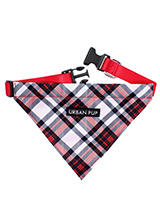 Red & White Plaid Bandana - Our Red & White Plaid Tartan Bandana is a traditional design which is stylish, classy and never goes out of fashion. Just attach your lead to the D ring and this stylish Bandana can also be used as a collar. It is lightweight and incredibly strong. You can be sure that this stylish and practical Ban...