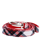 Red & White Plaid Fabric Lead - Here at Urban Pup our design team understands that everyone likes a coordinated look. So we added a Red and White Plaid Tartan Fabric Lead to match our Red and White Plaid Tartan  Harness, Bandana and collar. This lead is lightweight and incredibly strong.