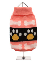 Pink Paws Sweater - This fun pink turtle neck knitted sweater will brighten up your dogs wardrobe. Featuring a turtle neck finish and cute dog paw pattern this is a sweater that looks good, wears good and is one outfit that will raise many a smile.
