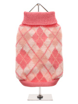Pink Argyle Sweater - Knitted pink sweater with a baby pink and white diamond pattern. The Argyle pattern has seen a resurgence in popularity in the last few years due to its adoption by Stuart Stockdale in collections produced by luxury clothing manufacturer, Pringle of Scotland. The rich Scottish heritage will give you...