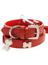 Red Leather Diamante Collar / Diamante Bone Charm & Lead Set - Sparkling Bling Collar & Lead Set. This textured red leather collar with a stitched edging has a crystal encrusted buckle with three large / bling sparkling diamante bones and a large sparkling diamante charm complete the look. A glamorous addition to the wardrobe of any trendy pooch. Matching lead...