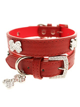 Red Leather Diamante Collar & Diamante Bone Charm - Sparkling Bling Collar! This textured red leather collar with a stitched edging has a crystal encrusted buckle with three large / bling sparkling diamante bones and a large sparkling diamante charm complete the look. A glamorous addition to the wardrobe of any trendy pooch.<ul><li><b>S-M</b> Width:...