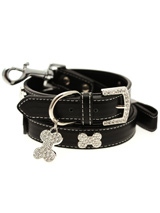 Black Leather Diamante Collar / Diamante Bone Charm & Lead Set - Sparkling Bling Collar & Lead Set. This black leather collar with a stitched edging has a crystal encrusted buckle with three large / bling sparkling diamante bones and a large sparkling diamante charm complete the look. A glamorous addition to the wardrobe of any trendy pooch. Matching lead has sil...
