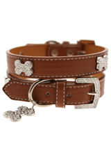 Brown Leather Diamante Collar & Diamante Bone Charm - Sparkling Bling Collar! This brown leather collar with a stitched edging has a crystal encrusted buckle with three large / bling sparkling diamante bones and a large sparkling diamante charm complete the look. A glamorous addition to the wardrobe of any trendy pooch.<ul><li><b>S-M</b> Width: 14mm</l...