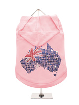 GlamourGlitz Australia Flag Dog Hoodie - Exclusive GlamourGlitz 100% Cotton Hoodie. A full Australian Flag design crafted with Red, Silver & Blue Rhinestuds that catch a sparkle in the light. Wear on it's own or match with a GlamourGlitz ''<b>Mommy & Me</b>'' Women's T-Shirt to complete the look.