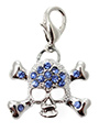 Blue Diamante Skull Dog Collar Charm