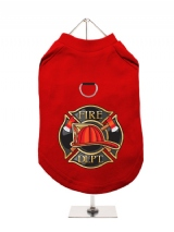 ''Fire Dept.'' Harness-Lined Dog T-Shirt
